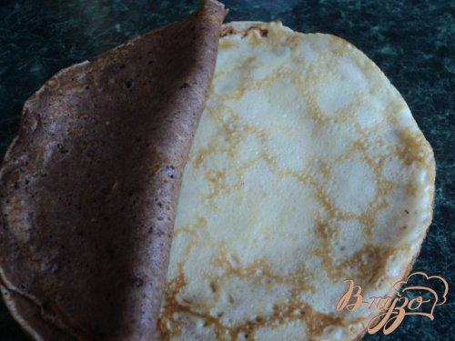 Блинный пирог с творожной начинкой.