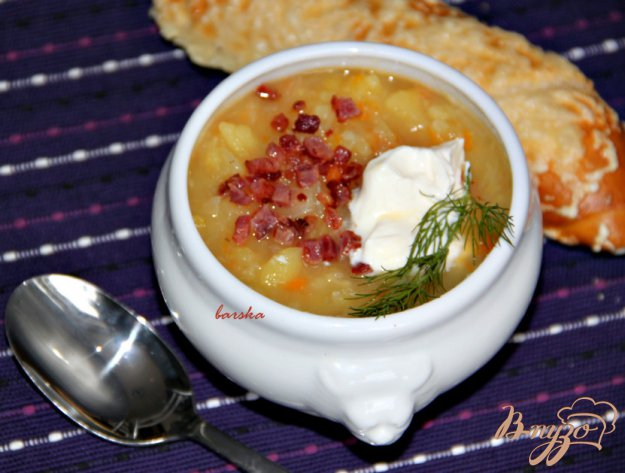 фото рецепта: Зимний картофельный суп-толчeнка с квашеной капустой из баварских Альп