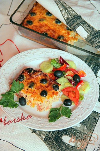 Рецепт Клафути из тунца и помидор с маслинами