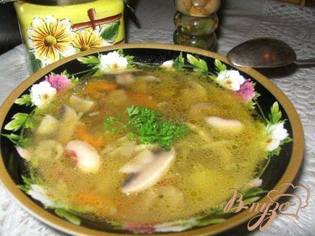 фото рецепта: Фасолевый суп с грибами