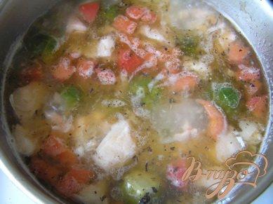 Суп с лососем, брюссельской капустой и помидорами