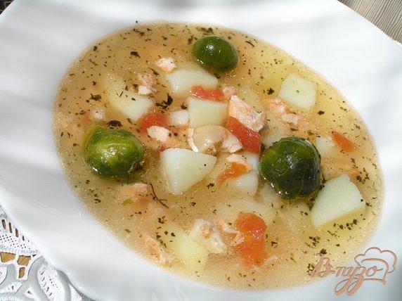 фото рецепта: Суп с лососем, брюссельской капустой и помидорами