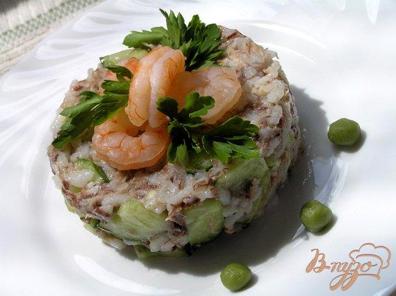 Рецепт Суши-салат с креветками и тунцом