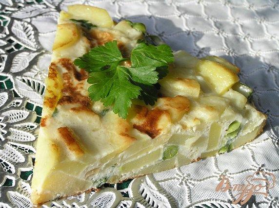 Рецепт Тортилья с луком, чесноком и зеленым горошком