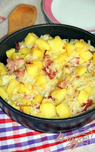 Капустно-картофельная сковорода с ветчиной
