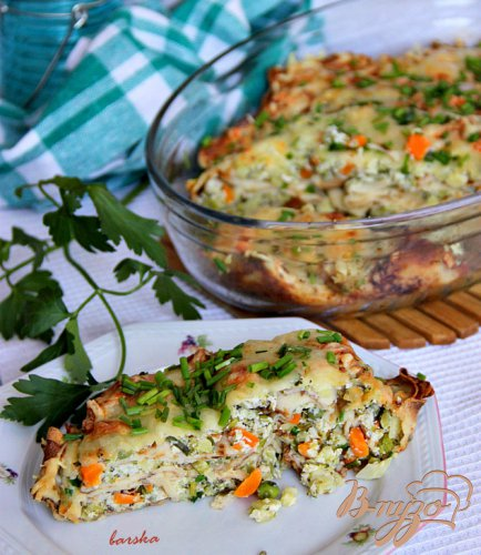 Запечeные блинчики с творожно-овощной начинкой