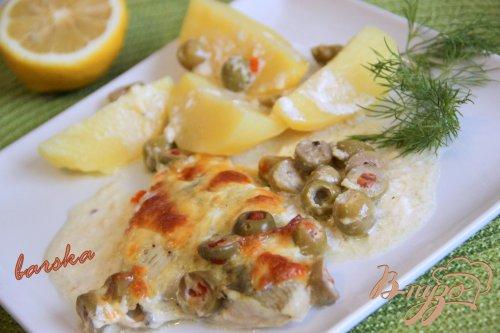 Рыба, запечённая с оливками