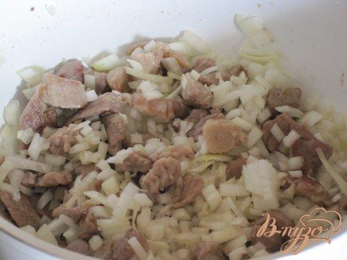 Мясное жаркое с грибами в сметанном соусе.