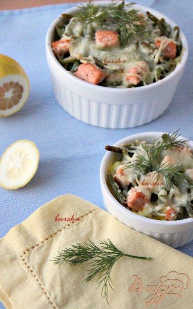 Рецепт Запеканка из риса, лосося и спаржевовой фасоли