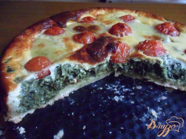 Рецепт Сырно-шпинатный киш с томатами черри