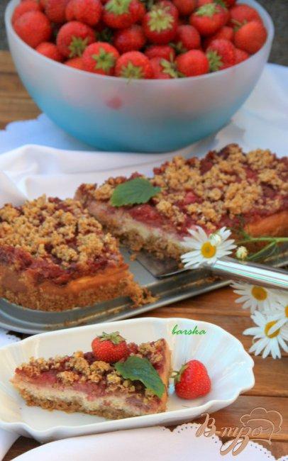 Фото приготовление рецепта: Пирог с хлопьями, с творожно-ягодной начинкой шаг №5