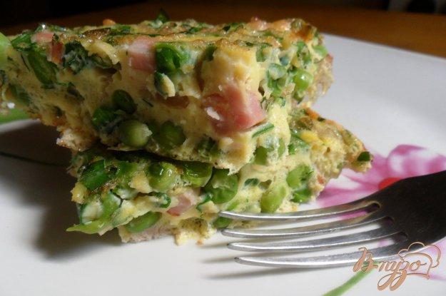 Рецепт Фриттата с зелёным горошком и ветчиной в духовке.