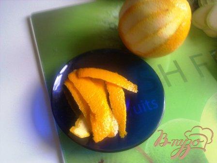 Морской окунь, запеченный с цуккини в апельсиновом соусе