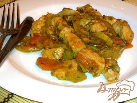 Рецепт Курица тушеная с кабачками и сельдереем