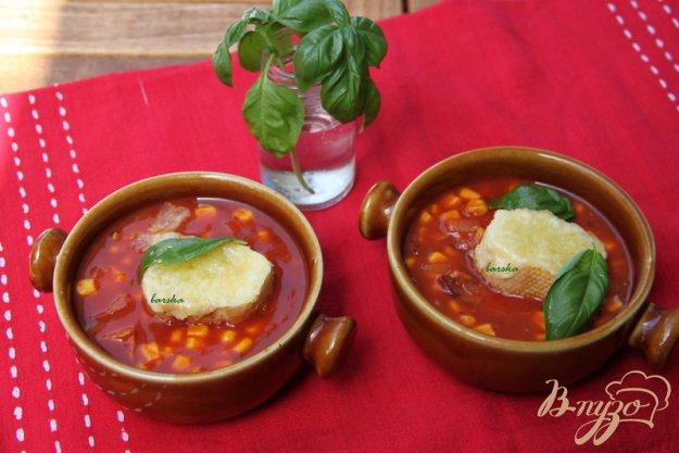 Рецепт Быстрый томатный суп с кукурузой и беконом