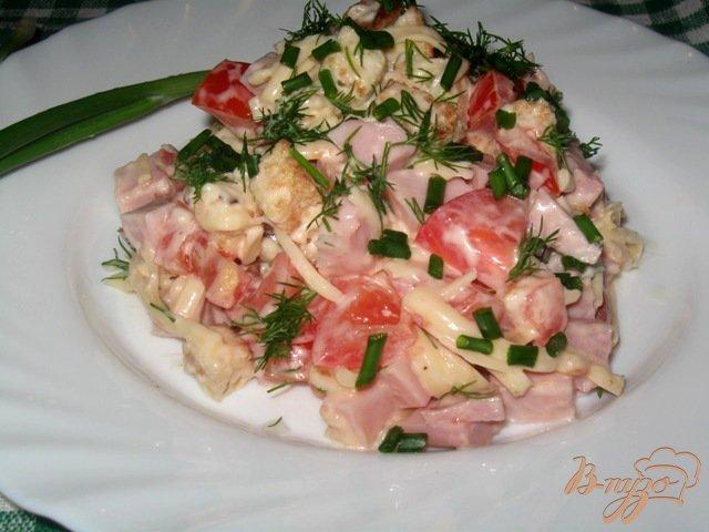 Фото приготовление рецепта: Салат из ветчины, сыра и помидор