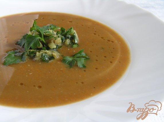 фото рецепта: Суп-пюре из чечевицы с морковью