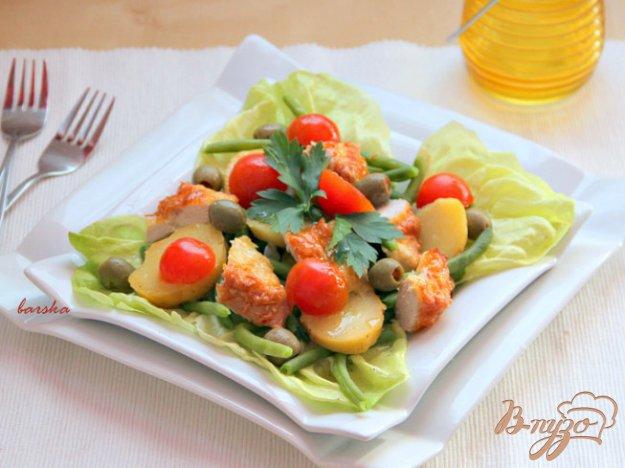 Рецепт Теплый салат из курицы с картофелем и спаржевой фасолью