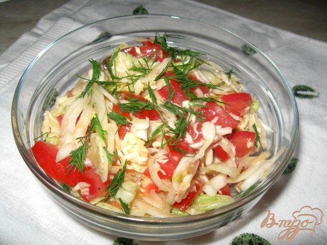 Фото приготовление рецепта: Салат из капусты с помидорами