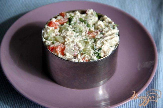 Фото приготовление рецепта: Творожная закуска с овощами шаг №4