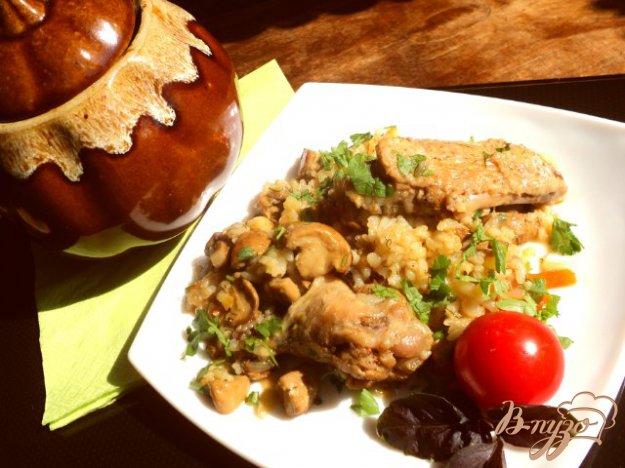 Рецепт Курица с рисом и грибами в горшочке