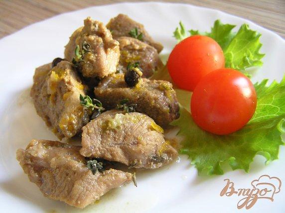 Рецепт Соте из говядины с апельсином и тимьяном в белом вине
