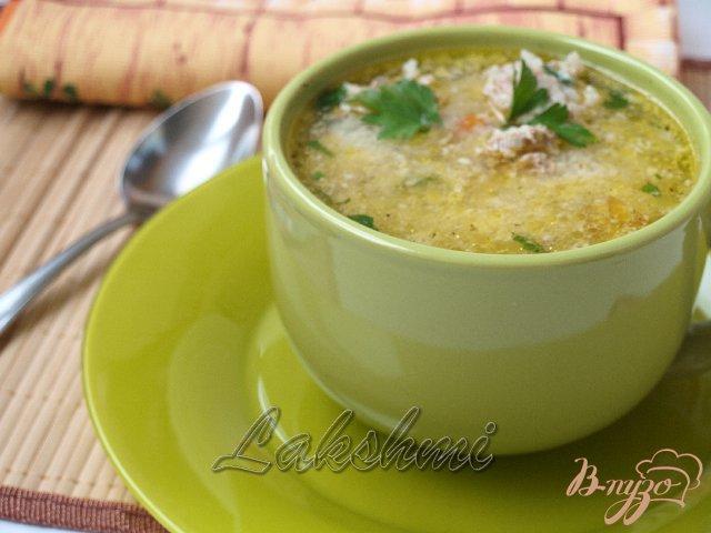 Фото приготовление рецепта: Греческий суп с фрикадельками шаг №4