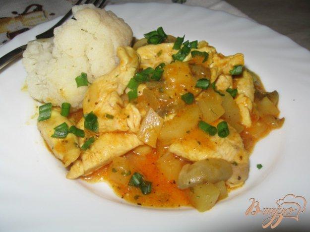 Рецепт Филе куриной грудки с ананасами и грибами.