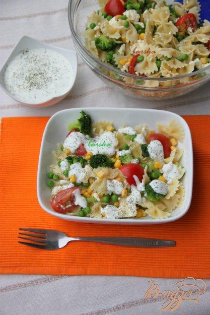 Рецепт Холодный салат с фарфалле, овощами и йогуртовой заправкой