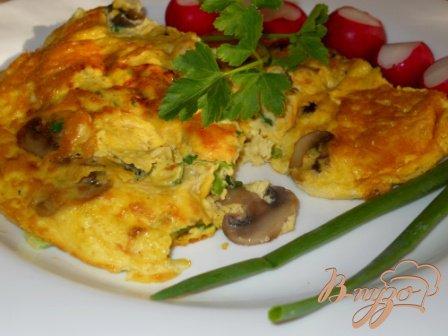 Рецепт Омлет с грибами и зеленый луком