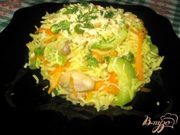 Рецепт Ризотто с кабачками, зеленым горошком и грибами.