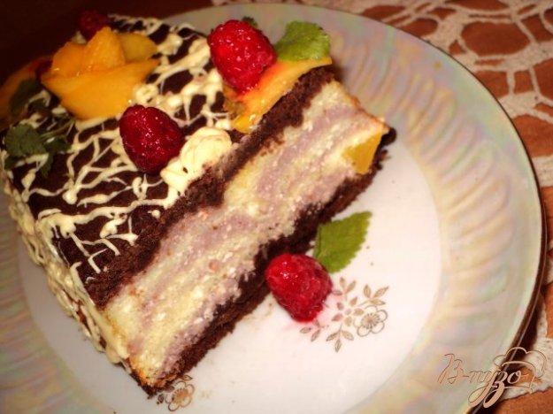 Рецепт Мраморный чизкейк с малиной и персиками