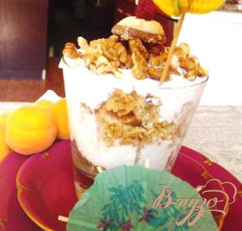 Рецепт Абрикосовый десерт с творогом и грецкими орехами