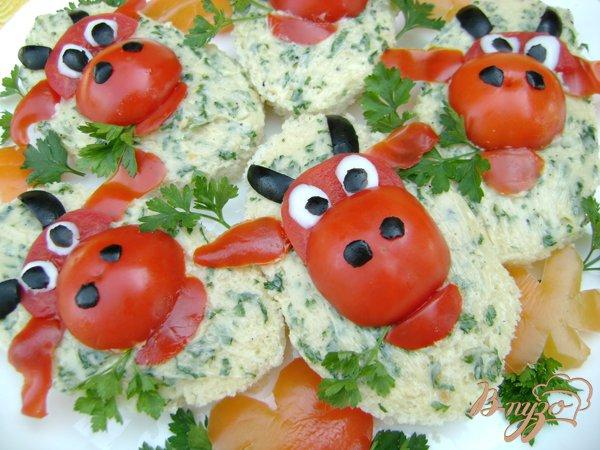 """Рецепт Бутерброды """"Весёлая коровка:)))"""" с зелёным маслом!"""