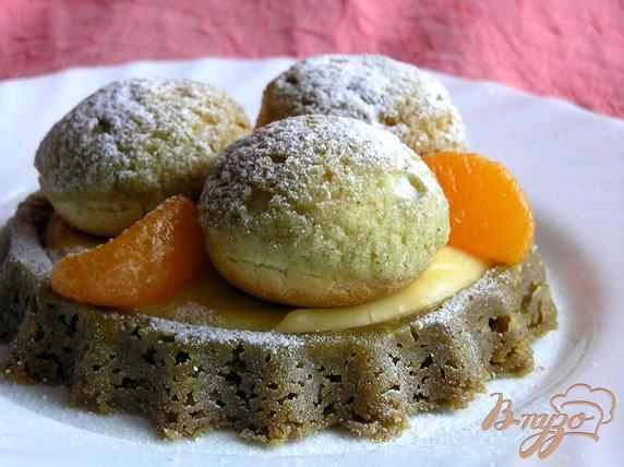 Рецепт Цитрусовый тарт с чаем матча и профитролями