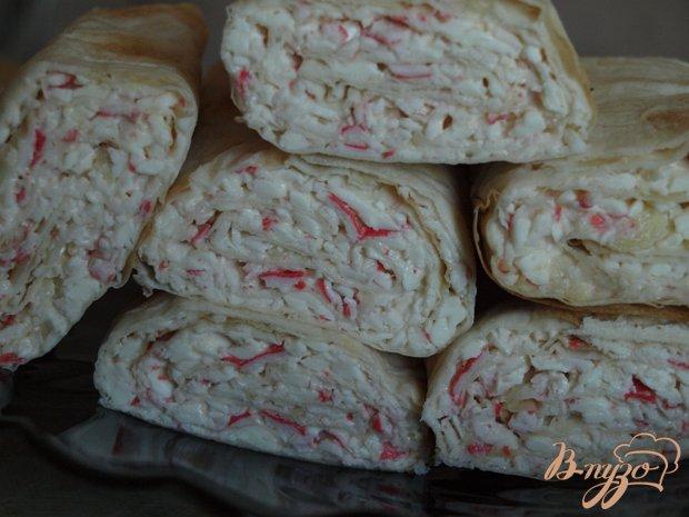 Рецепт Рулет из лаваша с крабовыми палочками
