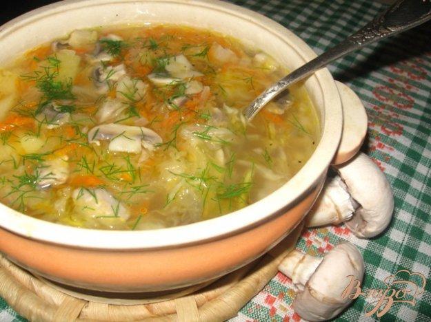 Рецепт Вегетарианские щи из квашенной капусты с грибами