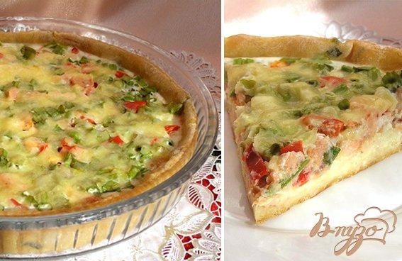 Рецепт Пирог с лососем, зеленью и овощами