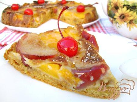 Пирог-перевёртыш с тыквой и яблоками