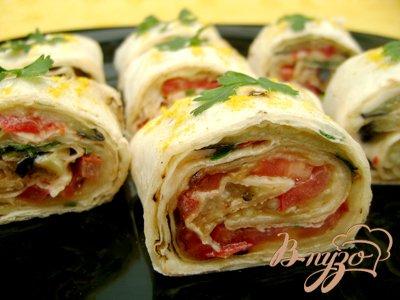 Рецепт Закусочный рулет из лаваша с овощами!