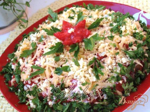 Рецепт Сельдь под сырно-помидорной шубкой
