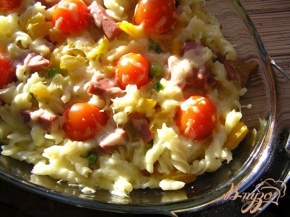 Рецепт Пирог из пасты с ветчиной и сыром