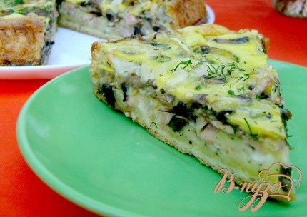 Закусочный пирог с ветчинно-грибной начинкой