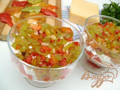 """Салат-коктейль """"Листопад"""" с ветчиной, сыром и сладким перцем:)"""