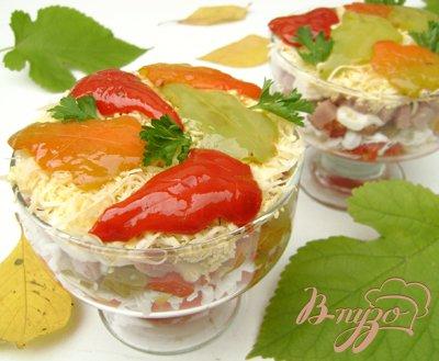 """Рецепт Салат-коктейль """"Листопад"""" с ветчиной, сыром и сладким перцем:)"""