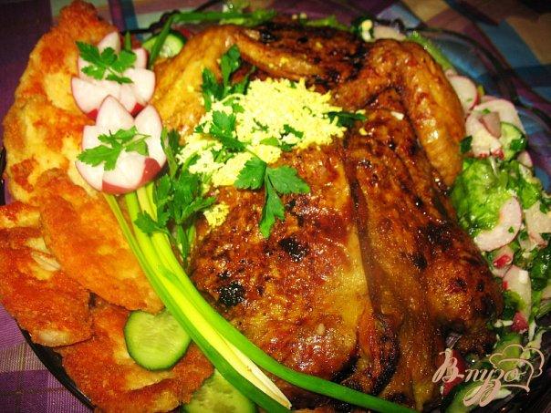 Рецепт Фаршированная курица гречей и черносливом.