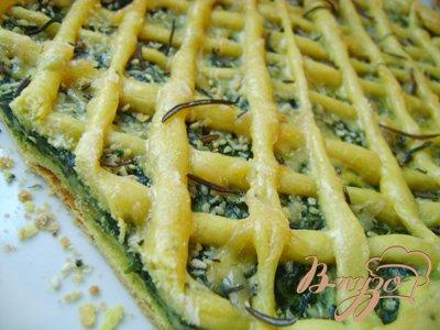 фото рецепта: Тонкий закусочный пирог с сырно-шпинатной начинкой