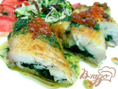 Рецепт Рыба, фаршированная шпинатом, с горчичным соусом