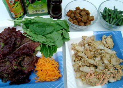 Салат «Новинка» со стручковой фасолью и рыбой