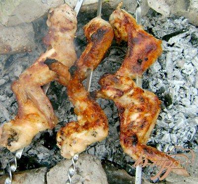 Рецепт Шашлык из куриных крыльев в горчичном маринаде с кунжутом